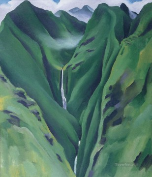 Waterfall No2 Iao Valley Maui Georgia Okeeffe American modernism Precisionism Oil Paintings