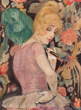 Gerda Wegener Painting - Danish Girl Lili with a Feather Fan Gerda Wegener