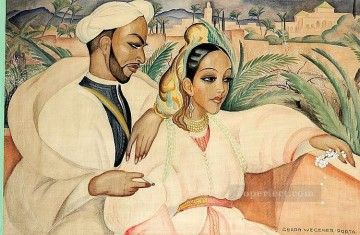 Oriental couple Gerda Wegener Oil Paintings