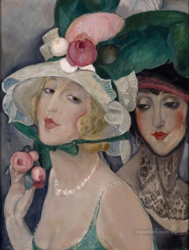 Gerda Wegener Painting - Two Cocottes with Hats Lili and friend Gerda Wegener