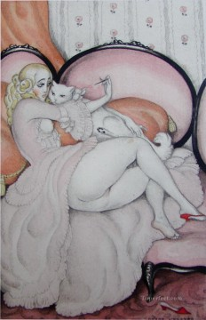 Gerda Wegener Painting - nude and cat Gerda Wegener