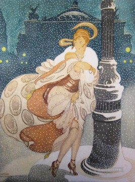 hero beijing opera jacky chen Painting - A Snowy Night at the Paris Opera Gerda Wegener
