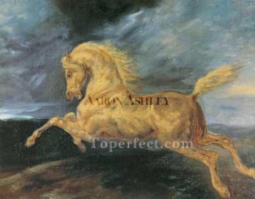 horse Art Painting - Horse frightened by lightning ARX Romanticist Theodore Gericault