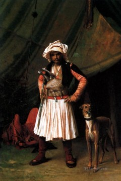greek Painting - BashiBazouk and his Dog Greek Arabian Orientalism Jean Leon Gerome