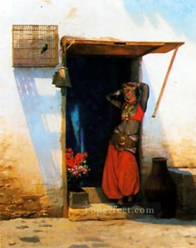 greek Painting - Woman of Cairo at her Door Greek Arabian Orientalism Jean Leon Gerome