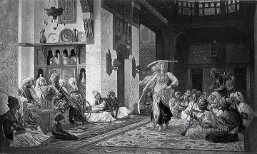 greek Painting - saber dance engraving Greek Arabian Orientalism Jean Leon Gerome