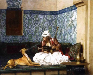 greek Painting - Arnaut blowing Smoke at the Nose of his Dog Greek Arabian Orientalism Jean Leon Gerome