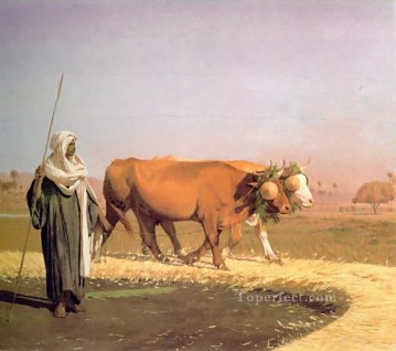 greek Painting - Treading out the Grain in Egypt Greek Arabian Orientalism Jean Leon Gerome
