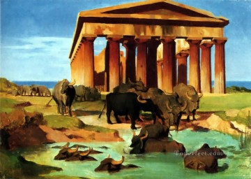 greek Painting - View of Paestum Greek Arabian Orientalism Jean Leon Gerome