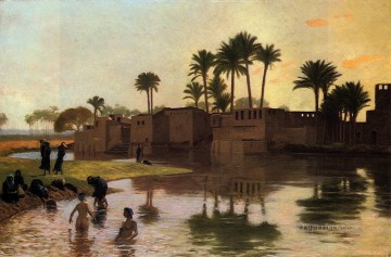 bath girl oil painting Painting - Bathers by the Edge of a River Greek Arabian Orientalism Jean Leon Gerome