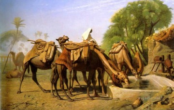fountain Painting - Camels at the Fountain Greek Arabian Orientalism Jean Leon Gerome