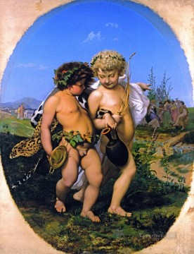 greek Painting - Drunken Bacchus and Cupid Greek Arabian Orientalism Jean Leon Gerome