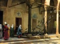 Harem Women Feeding Pigeons in a Courtyard Greek Arabian Orientalism Jean Leon Gerome