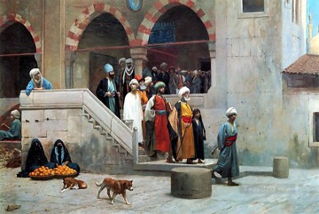 greek Painting - Leaving the Mosque Greek Arabian Orientalism Jean Leon Gerome