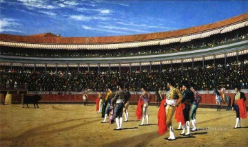 cattle bull cow Painting - Plaza de Toros The Entry of the Bull Greek Arabian Orientalism Jean Leon Gerome
