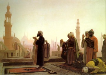 greek Painting - Prayer on the Housetops Greek Arabian Orientalism Jean Leon Gerome