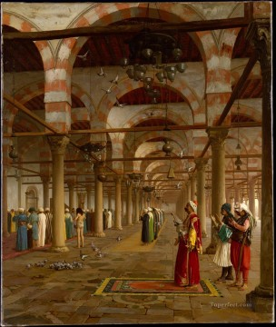greek Painting - Public Prayer in the Mosque of Amr Cairo Greek Arabian Orientalism Jean Leon Gerome