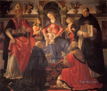 renaissance Painting - Madonna And Child Enthroned Between Angels And Saints Renaissance Florence Domenico Ghirlandaio