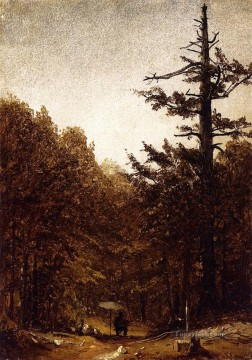 Road Oil Painting - A Forest Road scenery Sanford Robinson Gifford