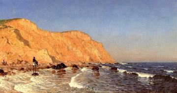 Clay Bluffs on No Mans Land Bass Fishing No Mans Land scenery Sanford Robinson Gifford Oil Paintings