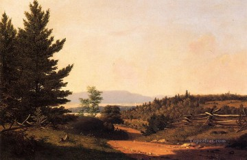 Lake Oil Painting - Road Scenery near Lake George scenery Sanford Robinson Gifford