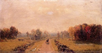 Carriage on a Country Road scenery Sanford Robinson Gifford Oil Paintings
