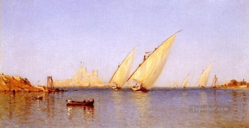 Inn Painting - Fishinng Boats coming into Brindisi Harbor scenery Sanford Robinson Gifford