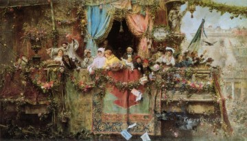Jose Benlliure y Gil Painting - A Carnival In Rome Jose Benlliure y Gil