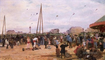 The Fairgrounds at Porte de Clignancourt genre Victor Gabriel Gilbert Oil Paintings