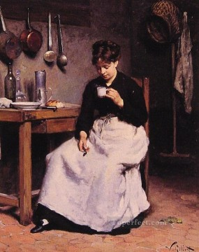 A Cup of Coffee genre Victor Gabriel Gilbert Oil Paintings