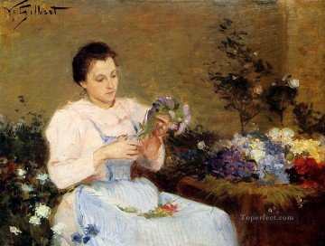 bouquet art - Arranging Flowers For A Spring Bouquet genre Victor Gabriel Gilbert