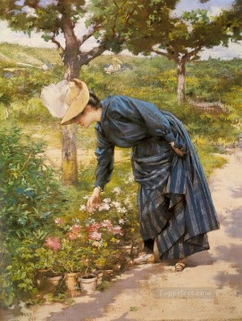 Lady In A Garden genre Victor Gabriel Gilbert Oil Paintings