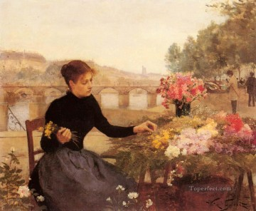A Parisian Flower Market genre Victor Gabriel Gilbert Oil Paintings