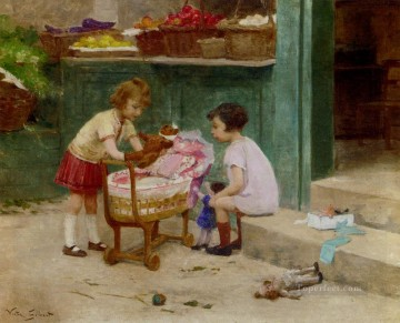 The Favourite Teddy Bear genre Victor Gabriel Gilbert Oil Paintings
