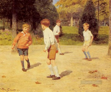 Boys Playing genre Victor Gabriel Gilbert Oil Paintings