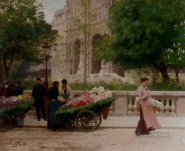 La Place De La Trinite genre Victor Gabriel Gilbert Oil Paintings