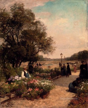 Quai Aux Fleurs genre Victor Gabriel Gilbert Oil Paintings