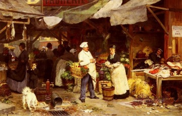 Le Marche De Maubeuge genre Victor Gabriel Gilbert Oil Paintings