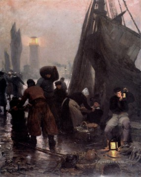 Preparing For Departure London genre Victor Gabriel Gilbert Oil Paintings