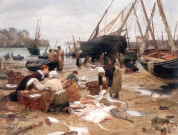 Sorting the Fish genre Victor Gabriel Gilbert Oil Paintings