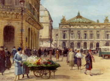 Paris Painting - The Flower Seller Place De L Opera Paris genre Victor Gabriel Gilbert