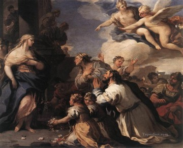baroque Painting - Psyche Honoured By The People Baroque Luca Giordano