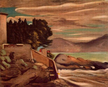 landscape near genova Giorgio de Chirico Metaphysical surrealism Oil Paintings