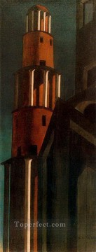 the tower Giorgio de Chirico Metaphysical surrealism Oil Paintings