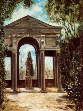 villa medici pavilion with statue Giorgio de Chirico Metaphysical surrealism Oil Paintings