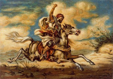 horse - arab on horseback Giorgio de Chirico Metaphysical surrealism