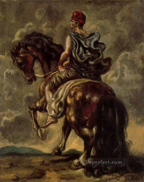 cavalryman with a red hat and a blue cloak Giorgio de Chirico Metaphysical surrealism Oil Paintings
