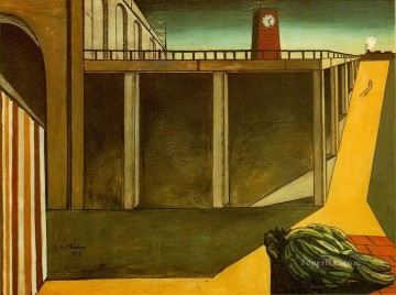 Chirico Art Painting - gare montparnasse the melancholy of departure 1914 Giorgio de Chirico Metaphysical surrealism