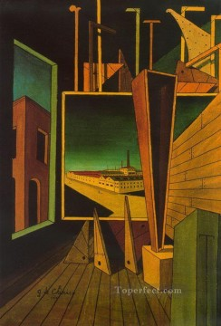 Chirico Art Painting - geometric composition with factory landscape 1917 Giorgio de Chirico Metaphysical surrealism