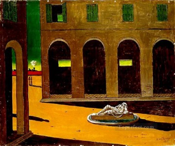 italian piazza Giorgio de Chirico Metaphysical surrealism Oil Paintings